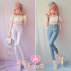 Princess sweet lolita overall vintage young girl trousers bow print denim suspenders pencil trousers Harajuku Fashion, Kawaii Fashion, Lolita Fashion, Summer Outfits Men, Summer Dresses For Women, Cute Outfits, Summer Clothes, Korean Fashion Trends, Japanese Street Fashion