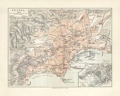Naples  Napoli Antique Map Reproduction / Old Map Print of Naples