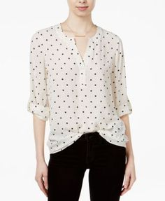 Maison Jules Polka-Dot Roll-Tab Blouse, Only at Macy's | macys.com