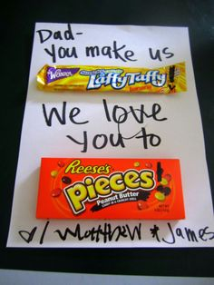 Valentines gift for Dad - his fav candies (excuse the coloring in the middle from the little boys) Valentine Gift For Dad, Valentine Day Crafts, Holiday Crafts, Holiday Fun, Simple Gifts, Cool Gifts, Diy Gifts, Gifts For Husband, Fathers Day Gifts