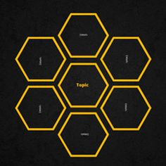 Prezi template based on the hive concept with 7 hexagon shapes. Includes 2 dark 3D grunge backgrounds that change according to the zoom level.