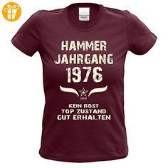 Geschenk zum 41. Geburtstag Hammer Jahrgang 1976 : Damen Frauen Mädchen Girlie Kurzarm T-Shirt - Geschenkidee Geburtstagsgeschenk Geschenkset Farbe: burgund Gr: XL (*Partner-Link)