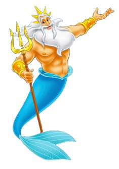 """King Triton from """"The Little Mermaid"""" is a resemblance of Neptune because he is the king of the sea. He also has a similar trident. Princesa Ariel Disney, Mermaid Disney, Disney Little Mermaids, Ariel The Little Mermaid, Mermaid Art, Little Mermaid Clipart, Little Mermaid Birthday, Little Mermaid Parties, Little Mermaid Characters"""