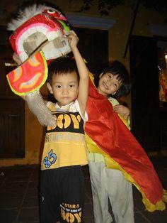 lion dance in Mid-autumn festival, Hoi An, Viet Nam