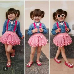 I love this little girl's style. Follow her on IG. - Salvabrani Toddler Girl Outfits, Baby Girl Dresses, Cute Dresses, Cute Kids Fashion, Baby Girl Fashion, Outfits Niños, Kids Outfits, Toddler Jumpsuit, Toddler Girls