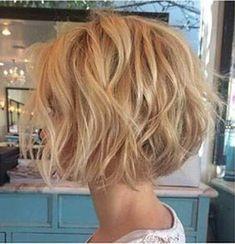 Soft Wavy Bob Blonde Color, Short Shag Thick Bob