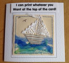 Handmade Vintage lace sailing boat card. Birthday card Get well card Thank you card. Can be personalised with your printed words top of card by FiddlethreadStudio on Etsy