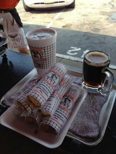 hot dogs from Stewart's Hot Dogs & Root beer in Huntington, West Virginia, USA I went here a lot as a child  Loved the  child size mugs they had