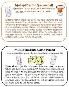 Multiplication Basketball activity card