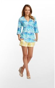 Lilly Pulitzer Costa Tunic Printed Resort White High Tide Tolie