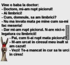 Vine o babă la doctor Funny Memes, Jokes, The Funny, Funny Pictures, Humor, Smile, Floral, Fanny Pics, Husky Jokes