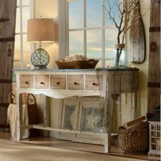 Trinidad Distressed Blue & White Console | Kirkland's