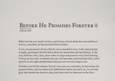 Love quote : Soulmate Quotes : Before he promises forever by Nikita Gill