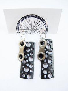 Recycled Jewelry - Innertube Bike Chain Earrings - handmade - bicycle
