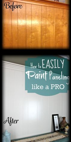 DIY Home Repair Hack: Easily Paint Over Wood Paneling When we bought our house a few years ago, there was A LOT of wood paneling. I've tried literally EVERY method, but the one I use is EASY and covers perfectly! Only 2 coats! Paint Over Wood Paneling, Wood Paneling Makeover, Wood Panel Walls, Paneling Ideas, Cover Wood Paneling, Wood Panneling, Painting Panneling, Painted Wood Walls, Wood Paneling Decor