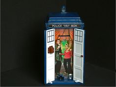 Open the doors of TARDIS money box to reveal our heroes in the Console Room. Opening the doors triggers a selection of random quotes from the Doctor or Rose. Closing them again generates a TARDIS takeoff sound effect     http://www.maxonking.8m.com