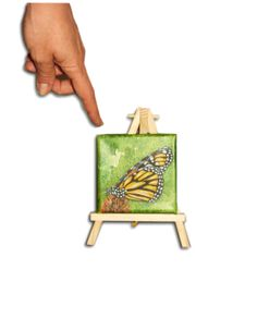 Oil Painting butterfly miniature 4x4  by OilpaintingsChrista,