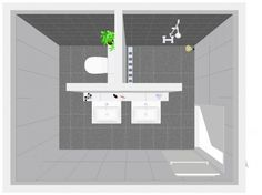 Mogelijkheden voor de kleine badkamer. Ik zou alleen de wc en douche omdraaien. Iedereen kan rustig zijn ding doen terwijl jij ongestoord staat te douchen.