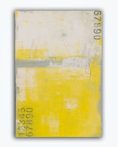 Yellow and Gray abstract Painting von erinashleyart auf Etsy