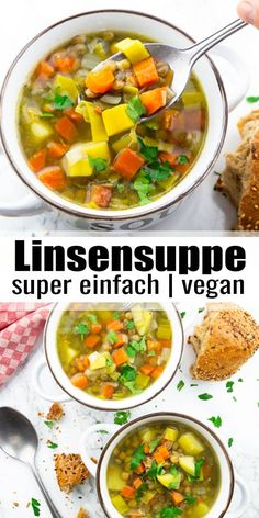 Diese Linsensuppe mit Kartoffeln, Möhren und Lauch ist nicht nur super einfach zuzubereiten, sondern auch richtig gesund! Es ist ein tolles Abendessen, das in einer knappen halben Stunde zubereitet ist. Mehr vegane Rezepte findet ihr auf veganheaven.de!#vegan #vegetarisch #gesund