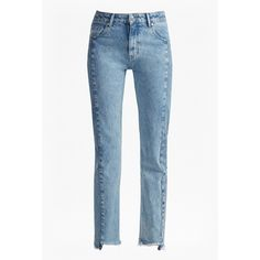 Remix Step Hem Straight Leg Jeans ($130) ❤ liked on Polyvore featuring jeans, 5 pocket jeans, zip jeans, zipper jeans, bleached jeans and french connection jeans