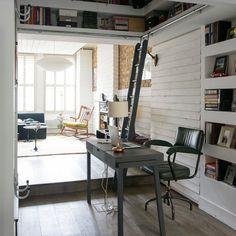 Wohnideen  Arbeitszimmer Home Office Büro - Laid-back Holz und Ziegel Büro zu Hause
