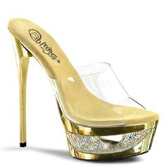 Pleaser Shoes Eclipse-601DM Gold Chrome Slip-On Precious mules in nuances of gold with wide clear strap on top, which reveals the foot, gold front platform with cut-out core and rhinestone adornments and sexy 6.5 inch (16.5 cm) extra-thin high heel http://www.MightGet.com/january-2017-12/pleaser-shoes-eclipse-601dm-gold-chrome-slip-on.asp
