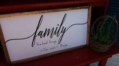 Family....the best things in life aren't things...Family Room Sign, Quote Sign, Wedding Gift, Housewarming Gift, Wooden Sign by DoubleOakVintage on Etsy
