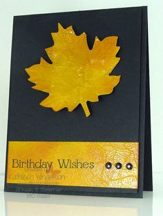 Masculine birthday card made with Autumn Accents Big Shot die from Stampin Up by Kathleen Wingerson   www.kathleenstamps.com