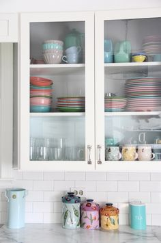 lovely kitchen cabinets and china