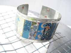 Mixed Blues Vintage Tin Cuff 10th Anniversary by eaststreettins, $46.00