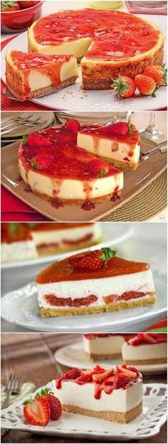 Cheesecake de Morango #CheesecakedeMorango #Receitatodahora Cheesecake Recipes, Cookie Recipes, Dessert Recipes, Desserts, Yummy Drinks, Yummy Food, Portuguese Recipes, Chocolate, Cheesecakes