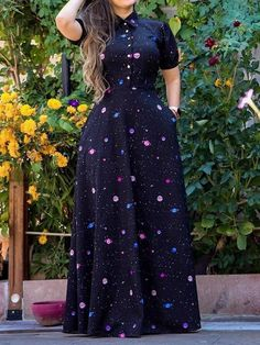 Shop Short Sleeve Starry Sky Print Shirt Dress right now, get great deals at Chiquedoll Long African Dresses, Latest African Fashion Dresses, African Print Fashion, Mode Kimono, Chic Outfits, Fashion Outfits, Maxi Dress With Sleeves, Chiffon Dress Long, Shirt Dress