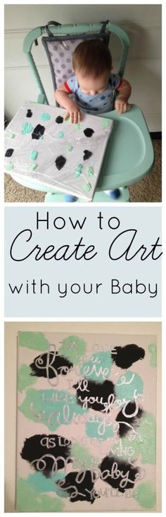 Create Art for your Decor with your Baby - Crafts - Baby Diy Infant Activities, Activities For Kids, 9 Month Old Baby Activities, Baby Play, Baby Kids, Toddler Art, Baby Development, Baby Art, Baby Games