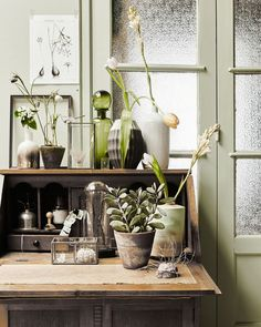 Botanical corner with plants and flowers, a wooden secretaire / wooden desk, green bottle and vases | Styling Fietje Bruijn, Marianne Luning, Frans Uyterlinde | vtwonen june 2015 | #vtwonenshop
