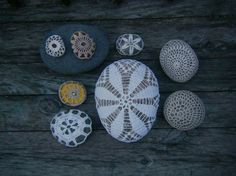 collection of crochet covered stones