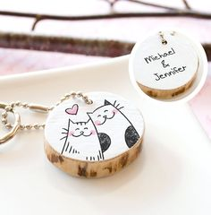 Wood Couple Keychain Custom Eco Friendly - Cat Love Heart Cute Illustration Drawing - Key Chain Ring - Wooden Tree Branch Salvaged Paper