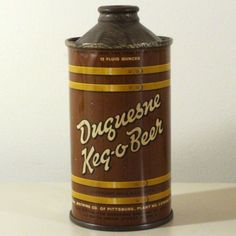 Duquesne Brewing Keg O Beer Low Profile Cone Top Can Pittsburg PA Olean Sharp   eBay