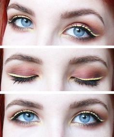 A close-up of this autumnal smokey eye paired with a retro yellow eyeliner!