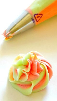 Rainbow Sherbet Frosting and tutorial on how to frost with multiple colors.