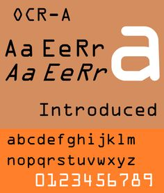 OCR-A – In the early days of computer optical character recognition, there was a need for a font that could be recognized not only by the computers of that day, but also by humans. The resulting compromise was the OCR-A font, which used simple, thick strokes to form recognizable characters.