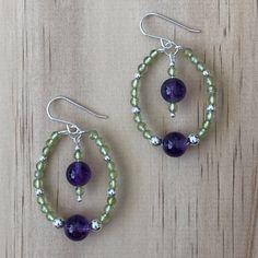 Sterling Silver Amethyst  Peridot Bohemian Earrings