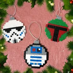 Star Wars themed baubles featuring the empires Stormtroopers, bounty hunter Boba Fett and everyones favorite droid. Made from Hama Beads and part of
