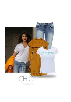 'Priyanka Chopra' by me on Limeroad featuring White Tees with Low Rise Blue Jeans