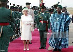 Queen Elizabeth II of England visits President Obasanjo in Nigeria2003 http://www.gettyimages.co.uk/detail/news-photo/queen-elizabeth-ii-of-england-and-nigerian-president-news-photo/2779531 … #luxury #royalafrica