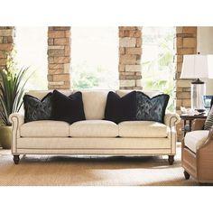 Tommy Bahama Home Landara Shoal Creek Sofa with Turned Legs and Nailhead Border