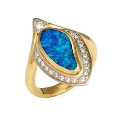 Boulder Opal Diamond ring