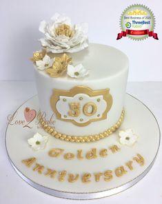 Golden Anniversary cake by Love2bake- Sept 2020 Golden Anniversary Cake, Cake Business, Cake Makers, Novelty Cakes, Homemade Cakes, Cake Ideas, Cake Decorating, Birthday Cake, Baking