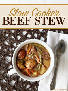 Slow cooker beef stew recipe makes for an easy and hearty dinner. Great for a weeknight meal too.