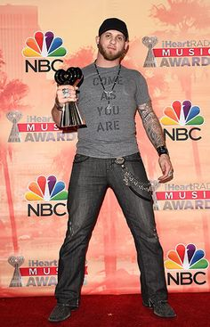 Brantley Gilbert, winner of the Renegade Award, poses in the press room during 2015 iHeartRadio Music Awards on March 29, 2015, in Los Angeles.